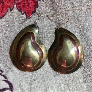 Vintage Boho Brass Copper Paisley Earrings